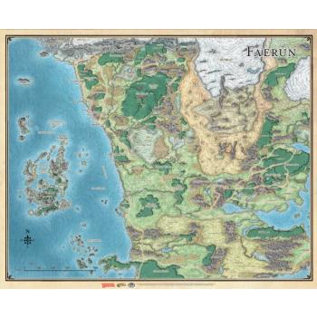 Boite de Dungeons & Dragons : Tapis de jeu Sword Coast Adventurer's Guide Faerûn Map